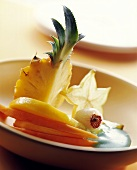 Tropical fruits with Curacao sauce