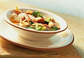Chicken and vegetable stew with glass noodles