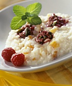 Apricot risotto with raspberry and pistachio sauce