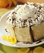 Mocha charlotte with cream topping