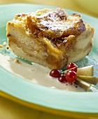 Funeral pyre (bread & butter pudding) with warm vanilla sauce