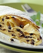 Strudel with raisin and quark filling