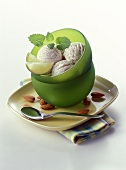 Almond ice cream with lime slices