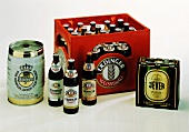 Crate of Erdinger pale beer, cask of Warsteiner, 6-pack of Jever