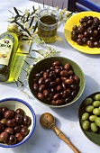Black and green olives and Greek olive oil