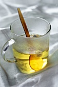 A glass of camomile tea