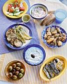 Various Greek appetisers