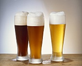 Wheat beers in glasses, dark, Hefe and Kristall
