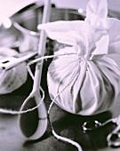 Preparing napkin dumplings (b and w photo)