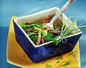 Boiled beef fillet soup with strips of savoy