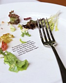 Poetry on empty salad plate in Café Dukatz (Munich)