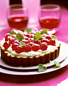 Torta genovese (Cake with cream filling and glace cherries)