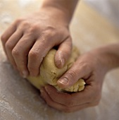Kneading pastry with the hands
