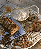 Corsican chestnut cake with ingredients on tray