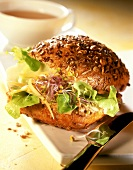 Wholemeal roll with cheese, sprouts & mushroom mousse