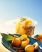 Fresh and bottled apricots with cinnamon and cloves