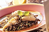 Plaice fillets with wild rice