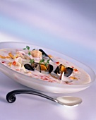 Mussel soup with fennel and vegetables
