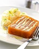 Smoked salmon terrine with herb butter; potato salad