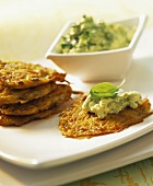 Potato and carrot rosti with avocado dip