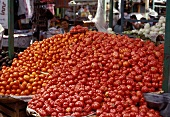 Tomatoes on market stall in Mexico