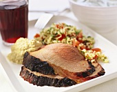 Roast lamb with couscous and tzaziki