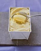 Mango mascarpone ice cream in a loaf tin