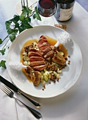 Bresse pigeons with vegetables and soy and honey sauce