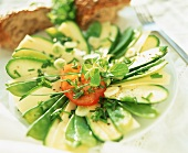 Courgette and mangetout salad with Gruyere