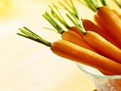 Peeled carrots with tops