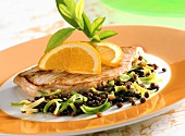 Turkey escalope on lentil salad