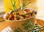 Chick-pea stew with aubergines and tomatoes