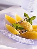 Mango sorbet with marinated orange segments