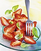Strawberry carpaccio with black pepper and basil