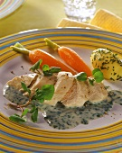 Chicken breast on watercress sauce with carrots & potato