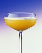 A glass of Bellini (champagne with peach puree)