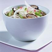 Udon noodles, broth, radish & shiitake mushrooms (from Japan)