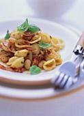Orecchiette with bean and basil sauce