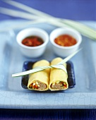 Asian pancake rolls with meat & vegetable filling & 2 sauces