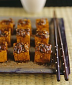Fried Sichuan-style tofu cubes
