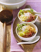 Thai glass noodle soup with beef fillet and vegetables