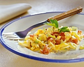 Scrambled egg with chili and vegetables