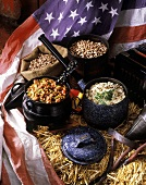 Chili con carne & long-grain wild rice; beans & US flag