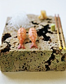 Two hand-formed shrimp sushi (Ebi)