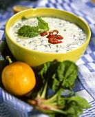 Spinach and yoghurt soup in bowl
