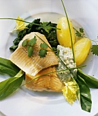Smoked salmon trout with ramsons (wild garlic) & potatoes