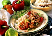 Finely chopped turkey with pepper and rice