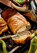 Pork fillet with mushroom stuffing in puff pastry