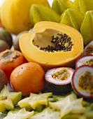 Exotic fruits: granadilla, papaya, persimmon, carambola