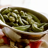 Okra pods in a dish